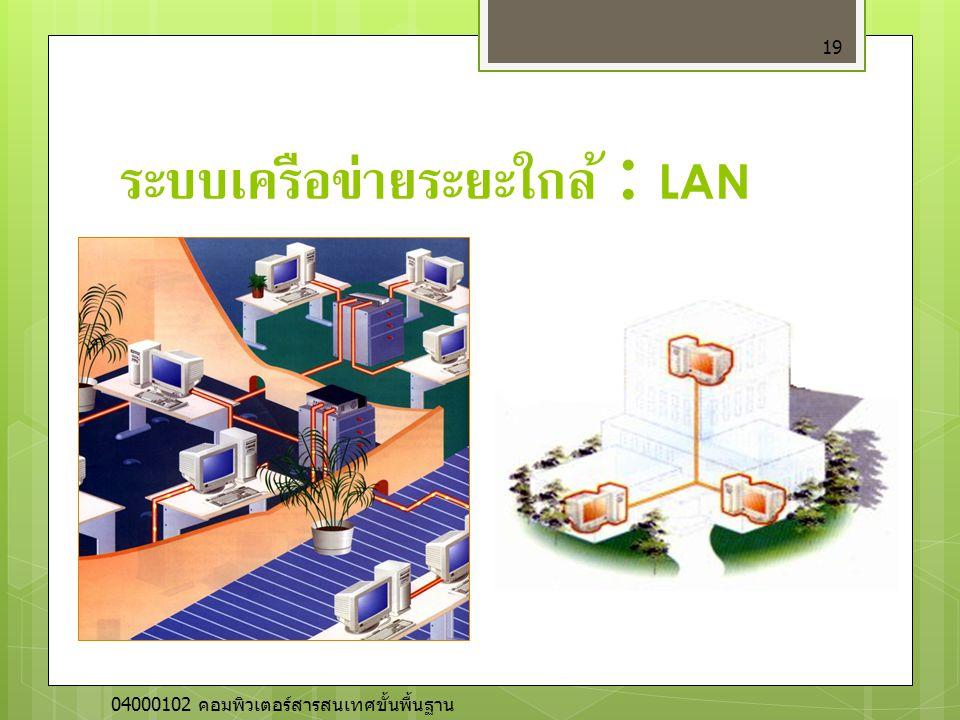 ระบบเครือข่ายระยะใกล้ : LAN 19 04000102 คอมพิวเตอร์สารสนเทศขั้นพื้นฐาน