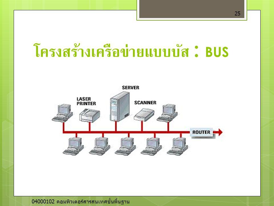 โครงสร้างเครือข่ายแบบบัส : BUS 25 04000102 คอมพิวเตอร์สารสนเทศขั้นพื้นฐาน