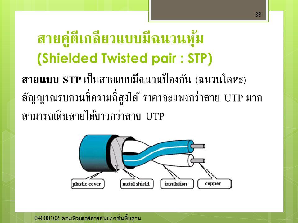 สายคู่ตีเกลียวแบบมีฉนวนหุ้ม (Shielded Twisted pair : STP) 38 สายแบบ STP เป็นสายแบบมีฉนวนป้องกัน ( ฉนวนโลหะ ) สัญญาณรบกวนที่ความถี่สูงได้ ราคาจะแพงกว่า