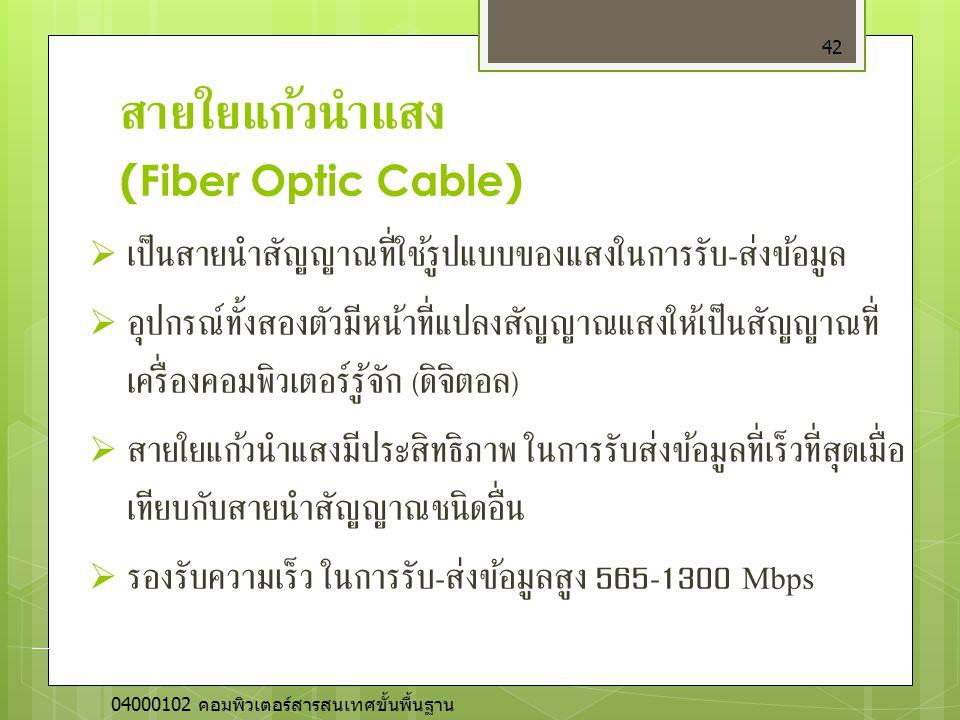 สายใยแก้วนำแสง (Fiber Optic Cable)  เป็นสายนำสัญญาณที่ใช้รูปแบบของแสงในการรับ - ส่งข้อมูล  อุปกรณ์ทั้งสองตัวมีหน้าที่แปลงสัญญาณแสงให้เป็นสัญญาณที่ เ