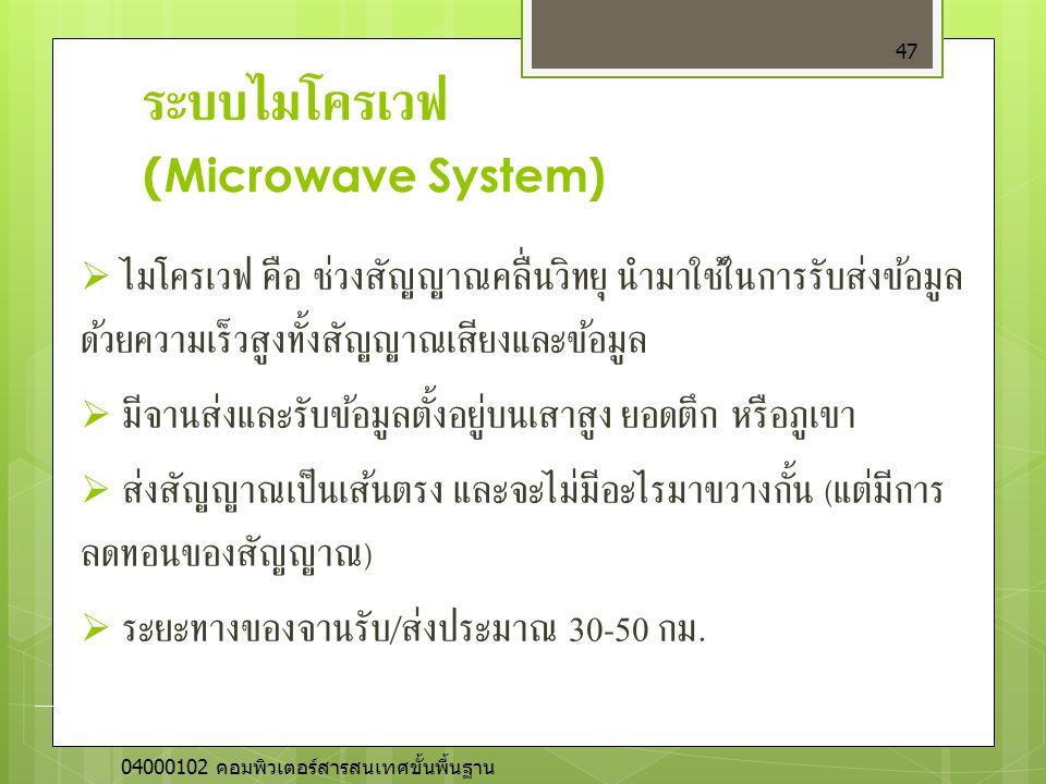 ระบบไมโครเวฟ (Microwave System)  ไมโครเวฟ คือ ช่วงสัญญาณคลื่นวิทยุ นำมาใช้ในการรับส่งข้อมูล ด้วยความเร็วสูงทั้งสัญญาณเสียงและข้อมูล  มีจานส่งและรับข