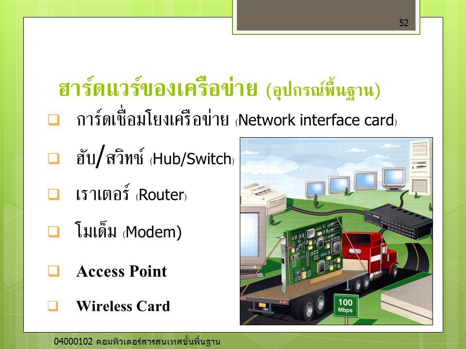 ฮาร์ดแวร์ของเครือข่าย ( อุปกรณ์พื้นฐาน ) 52  การ์ดเชื่อมโยงเครือข่าย (Network interface card)  ฮับ / สวิทซ์ (Hub/Switch)  เราเตอร์ (Router)  โมเด็