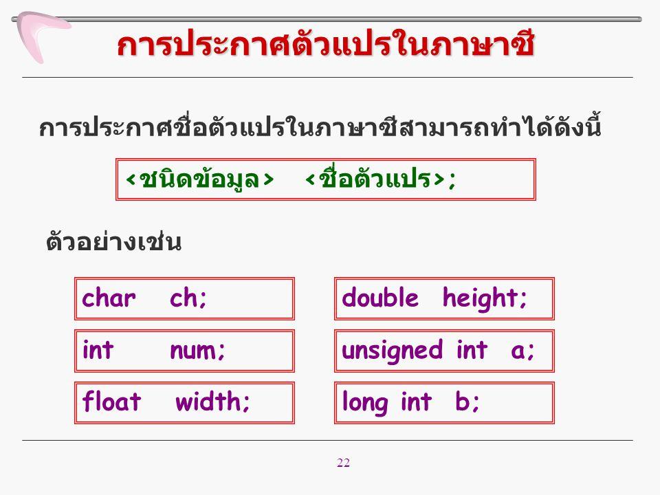 22 การประกาศชื่อตัวแปรในภาษาซีสามารถทำได้ดังนี้ การประกาศตัวแปรในภาษาซี ; ตัวอย่างเช่น char ch; int num; float width; double height; unsigned int a; l