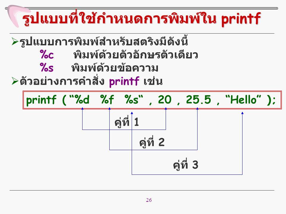 26  รูปแบบการพิมพ์สำหรับสตริงมีดังนี้ %c พิมพ์ด้วยตัวอักษรตัวเดียว %s พิมพ์ด้วยข้อความ  ตัวอย่างการคำสั่ง printf เช่น รูปแบบที่ใช้กำหนดการพิมพ์ใน pr