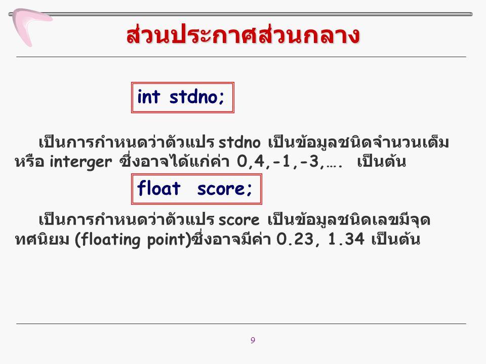 9 เป็นการกำหนดว่าตัวแปร stdno เป็นข้อมูลชนิดจำนวนเต็ม หรือ interger ซึ่งอาจได้แก่ค่า 0,4,-1,-3,…. เป็นต้น เป็นการกำหนดว่าตัวแปร score เป็นข้อมูลชนิดเล