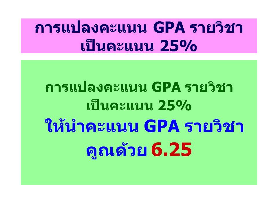 การแปลงคะแนน GPA รายวิชา เป็นคะแนน 25% การแปลงคะแนน GPA รายวิชา เป็นคะแนน 25% ให้นำคะแนน GPA รายวิชา คูณด้วย 6.25