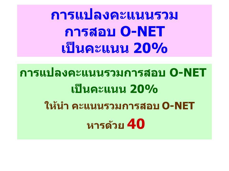 การแปลงคะแนนรวม การสอบ O-NET เป็นคะแนน 20% การแปลงคะแนนรวมการสอบ O-NET เป็นคะแนน 20% ให้นำ คะแนนรวมการสอบ O-NET หารด้วย 40