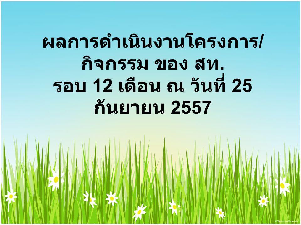 ผลการดำเนินงานโครงการ / กิจกรรม ของ สท. รอบ 12 เดือน ณ วันที่ 25 กันยายน 2557