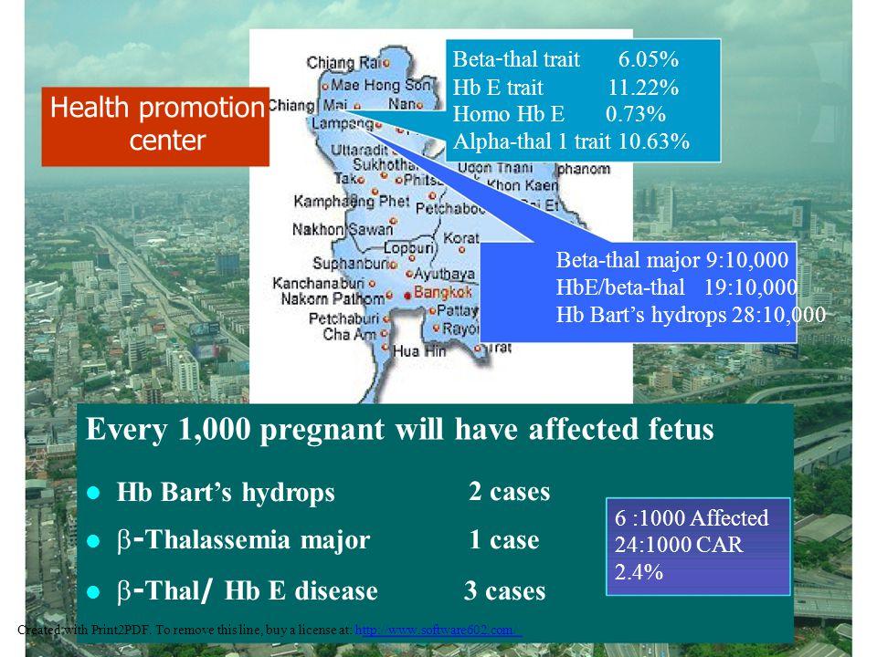 Beta-thal trait6.05% Hb E trait 11.22% Homo Hb E 0.73% Alpha-thal 1 trait 10.63% Health promotion center Beta-thal major 9:10,000 HbE/beta-thal 19:10,