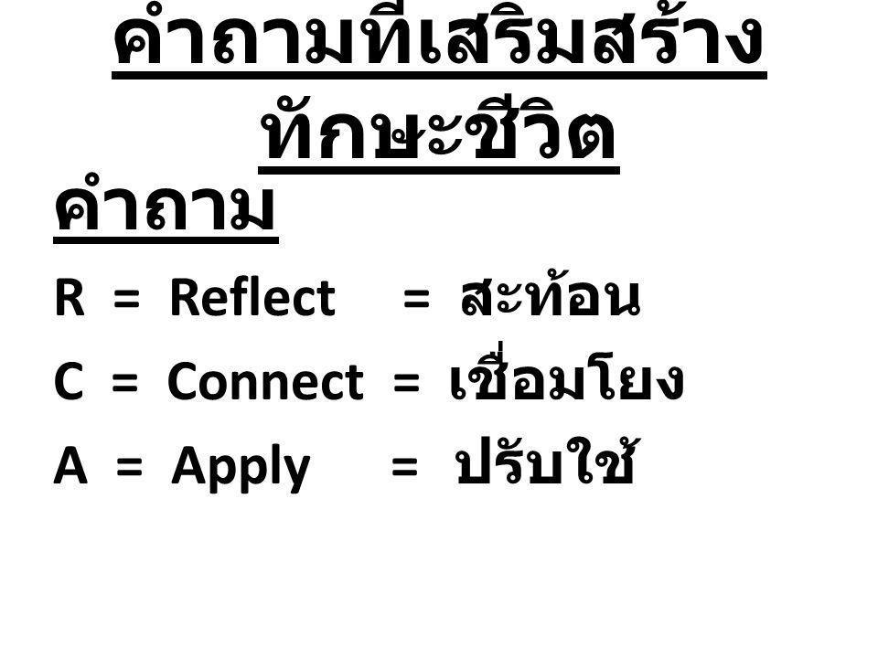 คำถามที่เสริมสร้าง ทักษะชีวิต คำถาม R = Reflect = สะท้อน C = Connect = เชื่อมโยง A = Apply = ปรับใช้