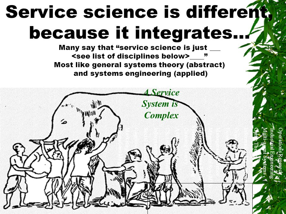 "2 Service science is different, because it integrates… Many say that ""service science is just ___ ____"" Most like general systems theory (abstract) an"