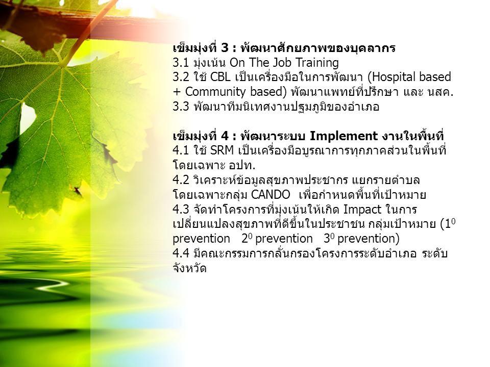 เข็มมุ่งที่ 3 : พัฒนาศักยภาพของบุคลากร 3.1 มุ่งเน้น On The Job Training 3.2 ใช้ CBL เป็นเครื่องมือในการพัฒนา (Hospital based + Community based) พัฒนาแ