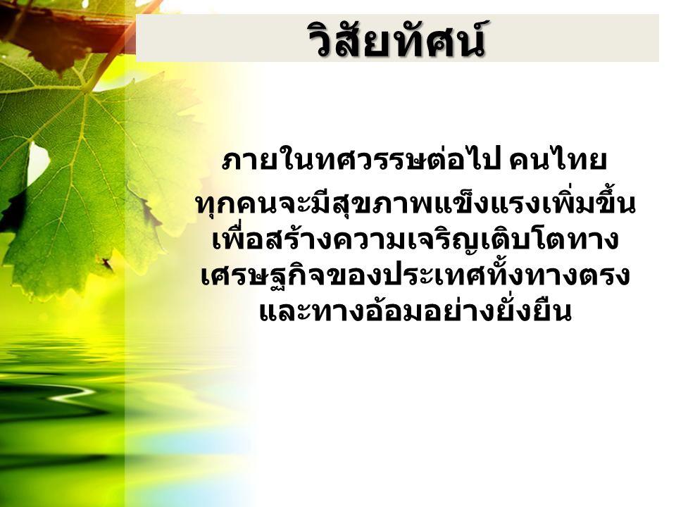วิสัยทัศน์ ภายในทศวรรษต่อไป คนไทย ทุกคนจะมีสุขภาพแข็งแรงเพิ่มขึ้น เพื่อสร้างความเจริญเติบโตทาง เศรษฐกิจของประเทศทั้งทางตรง และทางอ้อมอย่างยั่งยืน