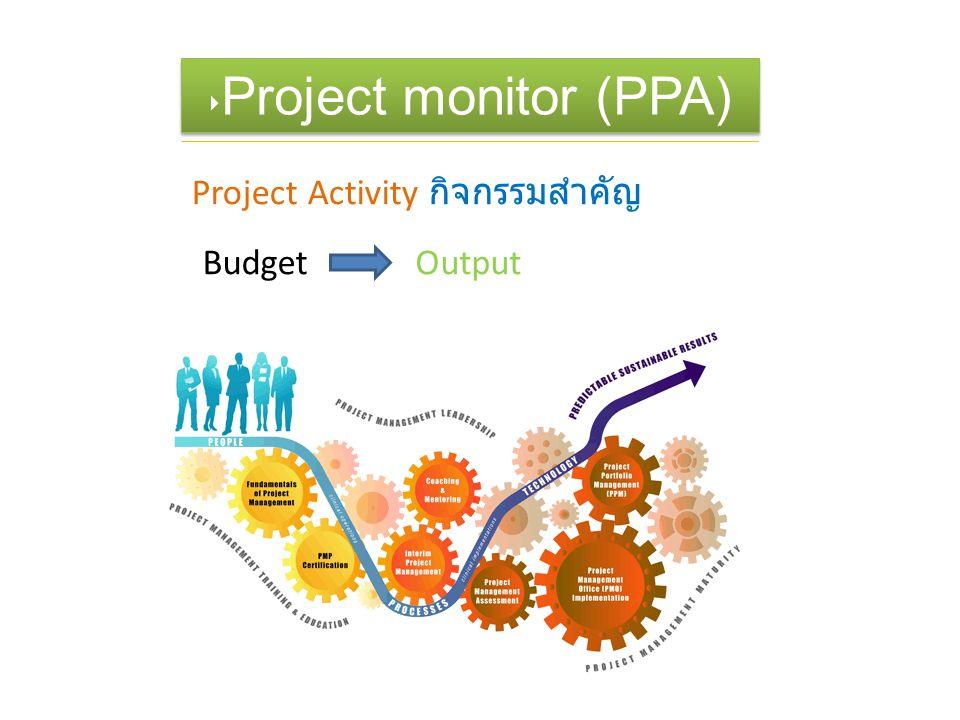 ‣ Project monitor (PPA) Project Activity กิจกรรมสำคัญ BudgetOutput