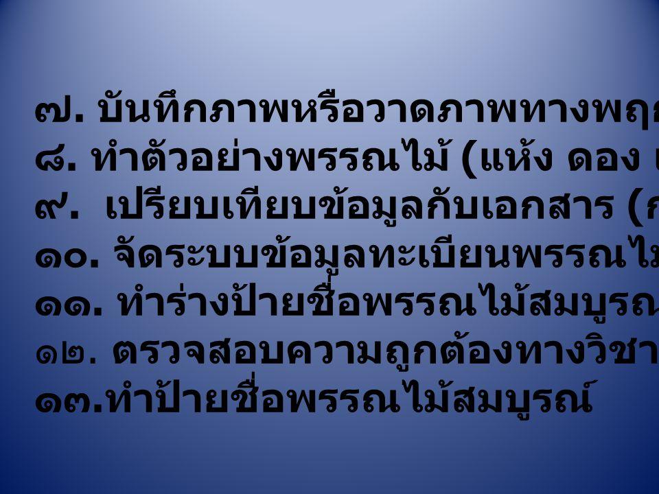 ๗. บันทึกภาพหรือวาดภาพทางพฤกษศาสตร์ ๘. ทำตัวอย่างพรรณไม้ ( แห้ง ดอง เฉพาะส่วน ) ๙. เปรียบเทียบข้อมูลกับเอกสาร ( ก. ๗ - ๐๐๓ หน้า ๙ - ๑๐ ) ๑๐. จัดระบบข้