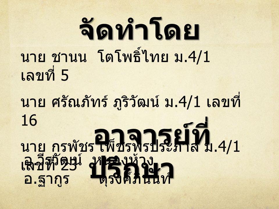 จัดทำโดย นาย ชานน โตโพธิ์ไทย ม.4/1 เลขที่ 5 นาย ศรัณภัทร์ ภูริวัฒน์ ม.4/1 เลขที่ 16 นาย กรพัชร เพ็ชรพรประภาส ม.4/1 เลขที่ 23 อาจารย์ที่ ปรึกษา อาจารย์