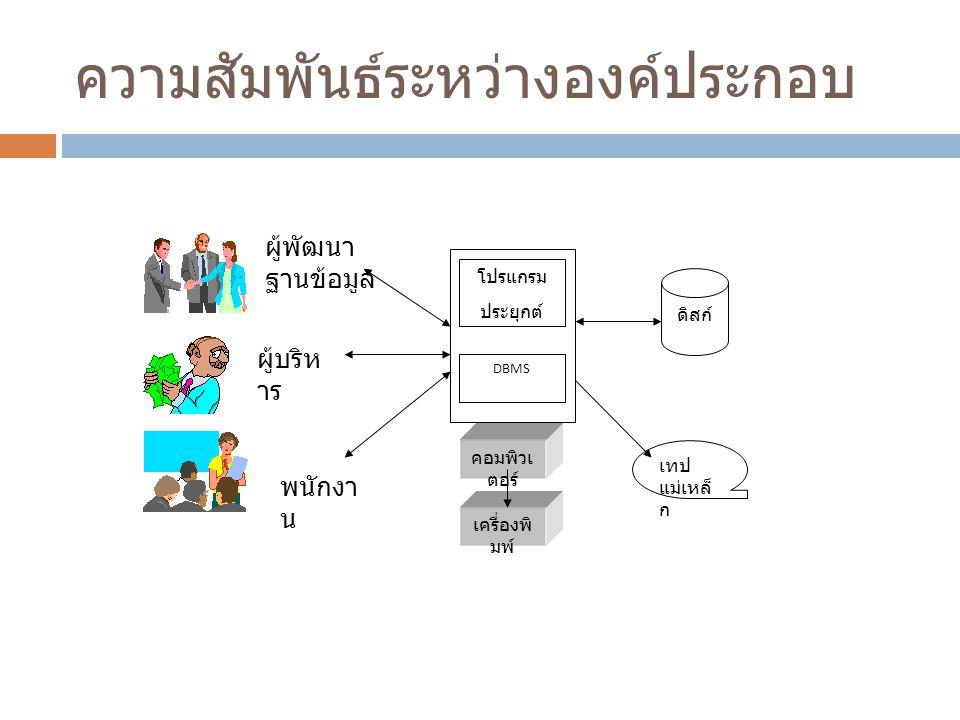 ความสัมพันธ์ระหว่างองค์ประกอบ โปรแกรม ประยุกต์ DBMS ดิสก์ คอมพิวเ ตอร์ เครื่องพิ มพ์ เทป แม่เหล็ ก ผู้พัฒนา ฐานข้อมูล ผู้บริห าร พนักงา น