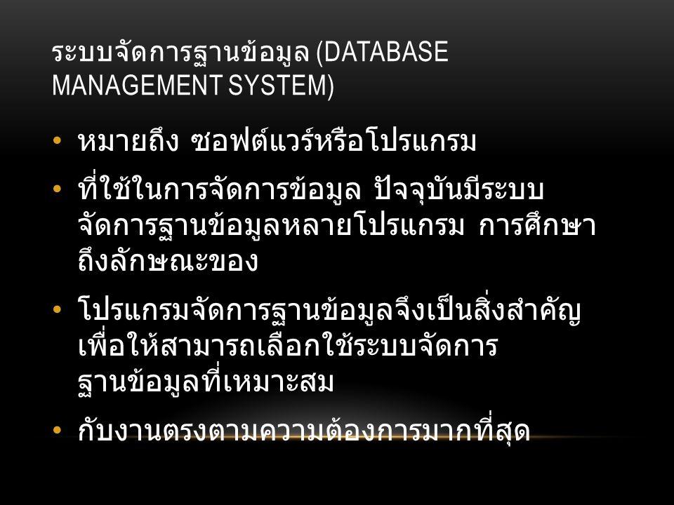 โปรแกรมฐานข้อมูลที่ นิยมใช้ โปรแกรมฐานข้อมูล เป็นโปรแกรมหรือซอฟต์แวร์ที่ ช่วยจัดการข้อมูลหรือรายการต่างๆ ที่อยู่ใน ฐานข้อมูล ไม่ว่าจะเป็นการจัดเก็บ การเรียกใช้ การ ปรับปรุงข้อมูล โปรแกรมฐานข้อมูล จะช่วยให้ผู้ใช้สามารถค้นหา ข้อมูลได้อย่างรวดเร็ว ซึ่งโปรแกรมฐานข้อมูลที่นิยม ใช้มีอยู่ด้วยกันหลายตัว เช่น Access, FoxPro, Clipper, dBase, FoxBASE, Oracle, DB2, SQL เป็นต้น โดยแต่ละโปรแกรมจะมีความสามารถ ต่างกัน บางโปรแกรมใช้ง่ายแต่จะจำกัดขอบเขตการ ใช้งาน บางโปรแกรมใช้งานยากกว่า แต่จะมี ความสามารถในการทำงานมากกว่า จึงจะขอ กล่าวถึงโปรแกรมฐานข้อมูลบางโปรแกรมที่นิยมใช้ กัน ได้แก่