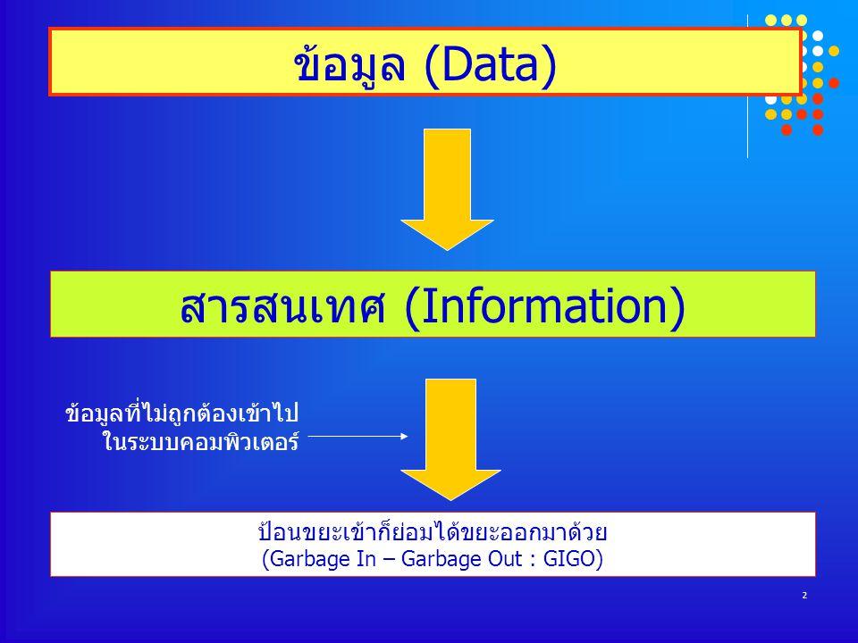2 ข้อมูล (Data) สารสนเทศ (Information) ป้อนขยะเข้าก็ย่อมได้ขยะออกมาด้วย (Garbage In – Garbage Out : GIGO) ข้อมูลที่ไม่ถูกต้องเข้าไป ในระบบคอมพิวเตอร์