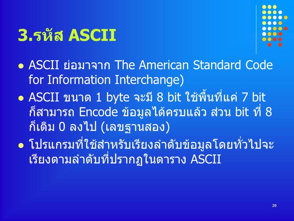 3.รหัส ASCII ASCII ย่อมาจาก The American Standard Code for Information Interchange) ASCII ขนาด 1 byte จะมี 8 bit ใช้พื้นที่แค่ 7 bit ก็สามารถ Encode ข้อมูลได้ครบแล้ว ส่วน bit ที่ 8 ก็เติม 0 ลงไป (เลขฐานสอง) โปรแกรมที่ใช้สำหรับเรียงลำดับข้อมูลโดยทั่วไปจะ เรียงตามลำดับที่ปรากฏในตาราง ASCII 20