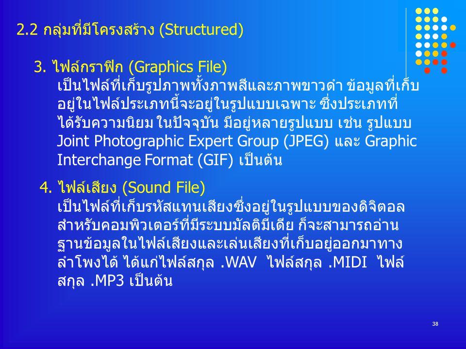 38 2.2 กลุ่มที่มีโครงสร้าง (Structured) 3.