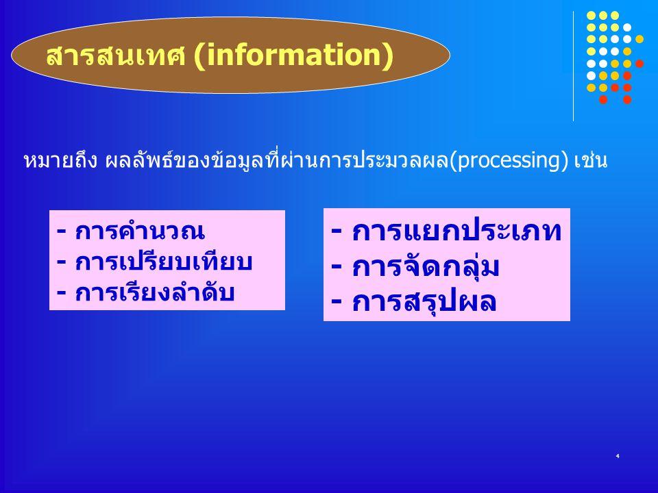 4 หมายถึง ผลลัพธ์ของข้อมูลที่ผ่านการประมวลผล(processing) เช่น - การคำนวณ - การเปรียบเทียบ - การเรียงลำดับ - การแยกประเภท - การจัดกลุ่ม - การสรุปผล สารสนเทศ (information)
