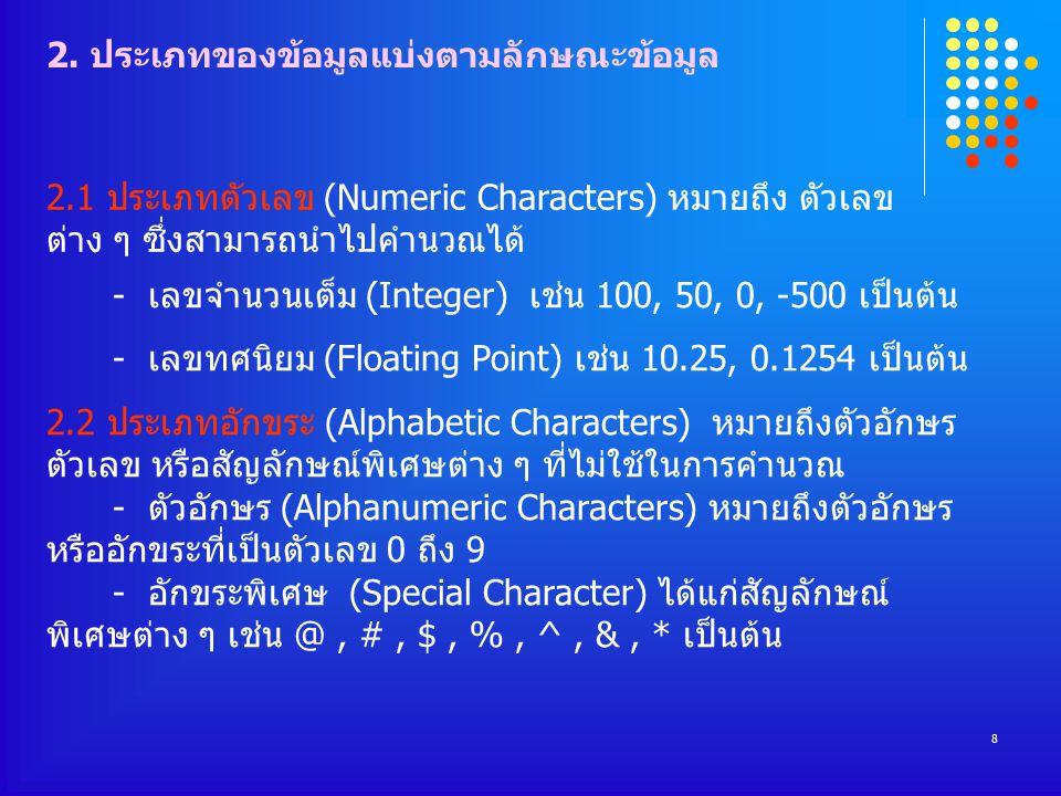 8 - เลขจำนวนเต็ม (Integer) เช่น 100, 50, 0, -500 เป็นต้น - เลขทศนิยม (Floating Point) เช่น 10.25, 0.1254 เป็นต้น 2.2 ประเภทอักขระ (Alphabetic Characters) หมายถึงตัวอักษร ตัวเลข หรือสัญลักษณ์พิเศษต่าง ๆ ที่ไม่ใช้ในการคำนวณ - ตัวอักษร (Alphanumeric Characters) หมายถึงตัวอักษร หรืออักขระที่เป็นตัวเลข 0 ถึง 9 - อักขระพิเศษ (Special Character) ได้แก่สัญลักษณ์ พิเศษต่าง ๆ เช่น @, #, $, %, ^, &, * เป็นต้น 2.