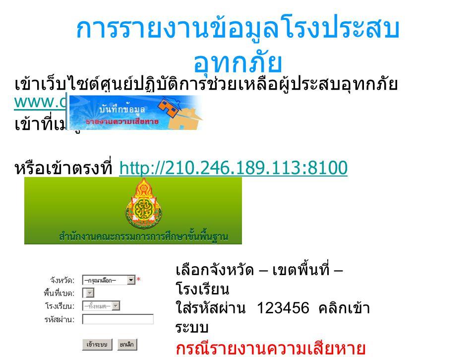 การรายงานข้อมูลโรงประสบ อุทกภัย เข้าเว็บไซต์ศูนย์ปฏิบัติการช่วยเหลือผู้ประสบอุทกภัย www.doc.obec.go.th www.doc.obec.go.th เข้าที่เมนู หรือเข้าตรงที่ http://210.246.189.113:8100http://210.246.189.113:8100 เลือกจังหวัด – เขตพื้นที่ – โรงเรียน ใส่รหัสผ่าน 123456 คลิกเข้า ระบบ กรณีรายงานความเสียหาย ของ สพท.