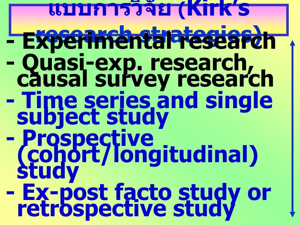 แบบการวิจัย ( Kirk's research strategies) - Experimental research - Quasi-exp. research, causal survey research - Time series and single subject study