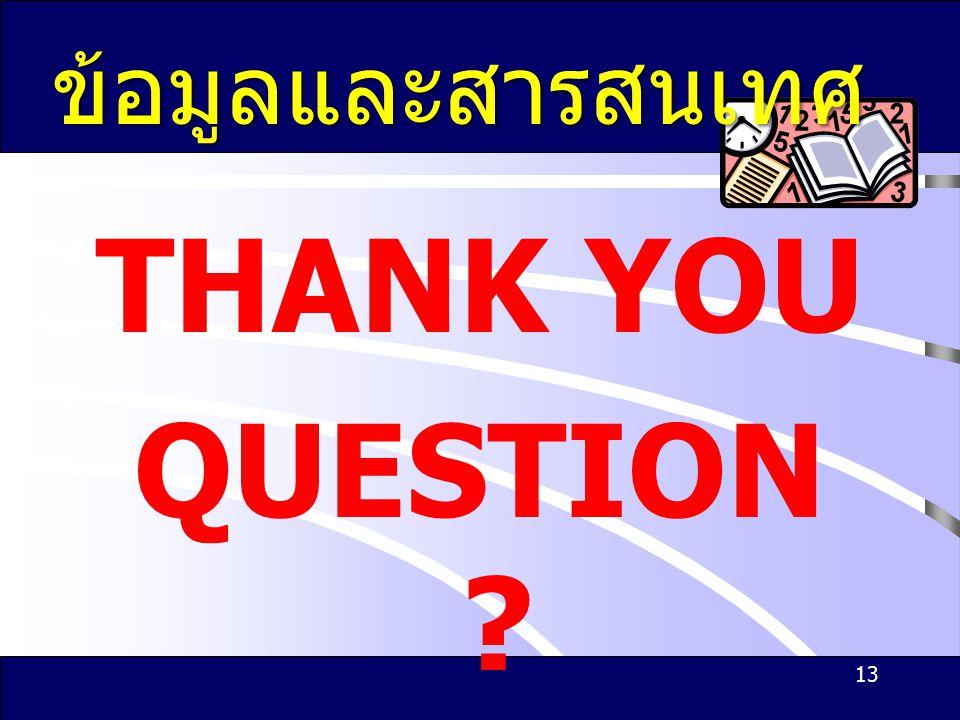 THANK YOU QUESTION ? 13 ข้อมูลและสารสนเทศ