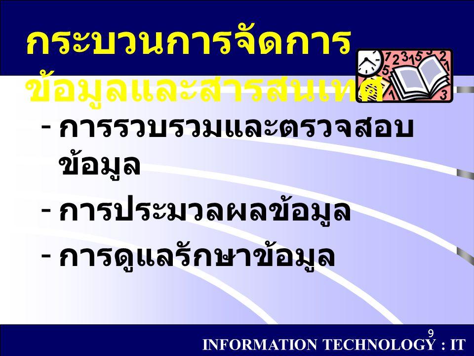 10 กระบวนการจัดการ ข้อมูลและสารสนเทศ การรวบรวมและ ตรวจสอบข้อมูล INFORMATION TECHNOLOGY : IT 1.