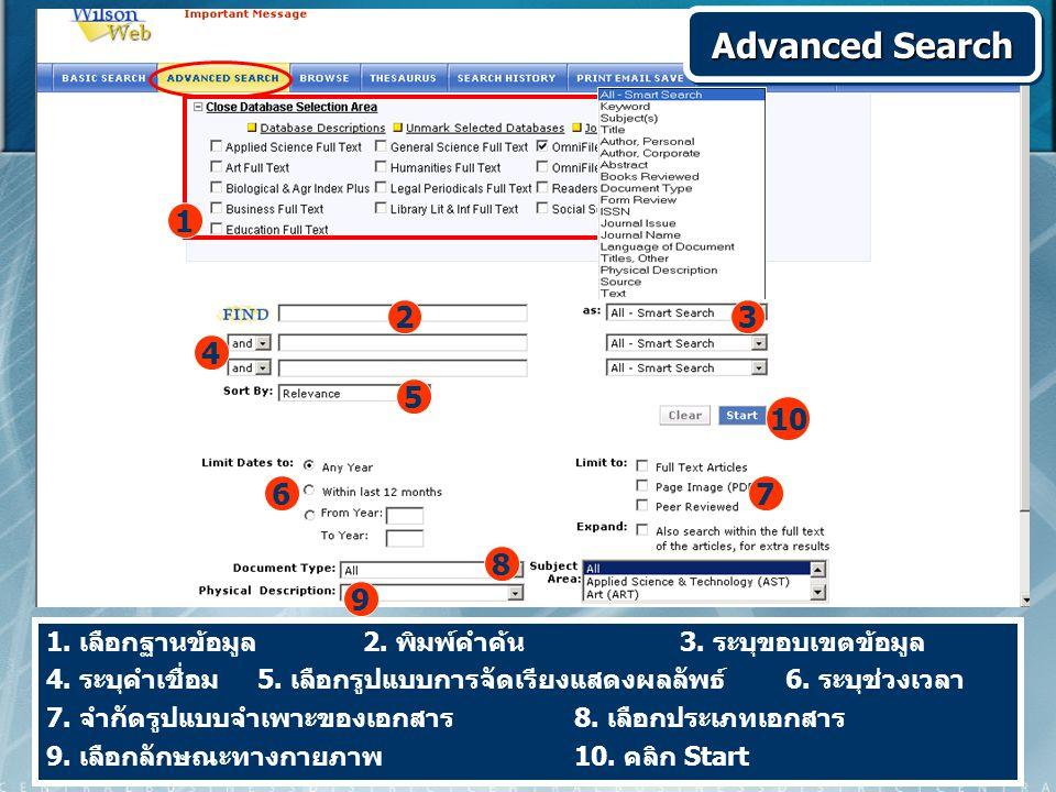 1. เลือกฐานข้อมูล 2. พิมพ์คำค้น 3. ระบุขอบเขตข้อมูล 4. ระบุคำเชื่อม 5. เลือกรูปแบบการจัดเรียงแสดงผลลัพธ์ 6. ระบุช่วงเวลา 7. จำกัดรูปแบบจำเพาะของเอกสาร