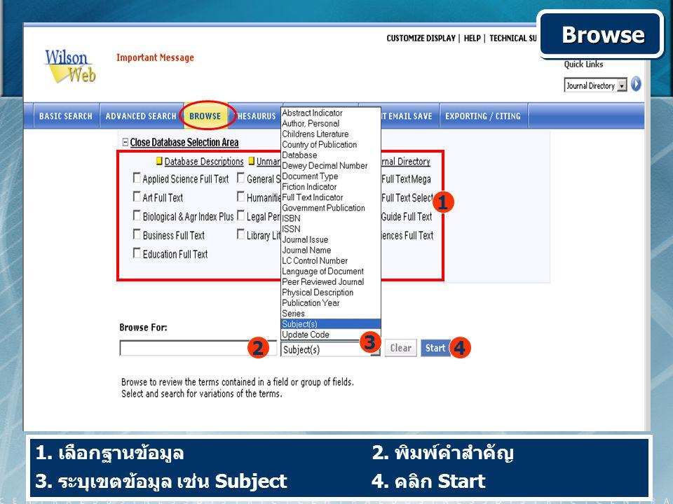 1. เลือกฐานข้อมูล 2. พิมพ์คำสำคัญ 3. ระบุเขตข้อมูล เช่น Subject 4. คลิก Start Browse Browse 1 2 3 4