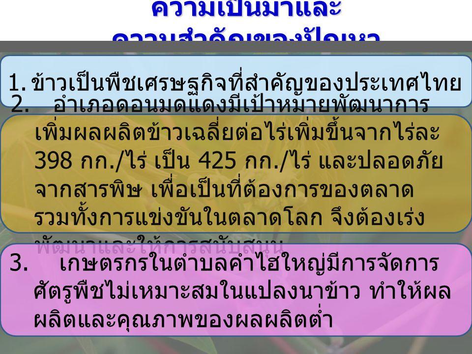 ความเป็นมาและ ความสำคัญของปัญหา 1. ข้าวเป็นพืชเศรษฐกิจที่สำคัญของประเทศไทย 2. อำเภอดอนมดแดงมีเป้าหมายพัฒนาการ เพิ่มผลผลิตข้าวเฉลี่ยต่อไร่เพิ่มขึ้นจากไ