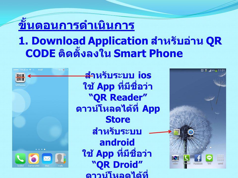 """ขั้นตอนการดำเนินการ 1. Download Application สำหรับอ่าน QR CODE ติดตั้งลงใน Smart Phone สำหรับระบบ ios ใช้ App ที่มีชื่อว่า """"QR Reader"""" ดาวน์โหลดได้ที่"""