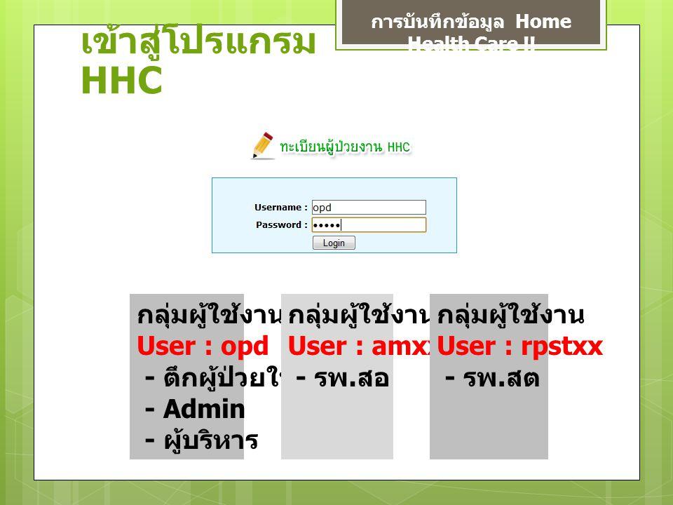 เข้าสู่โปรแกรม HHC การบันทึกข้อมูล Home Health Care !.
