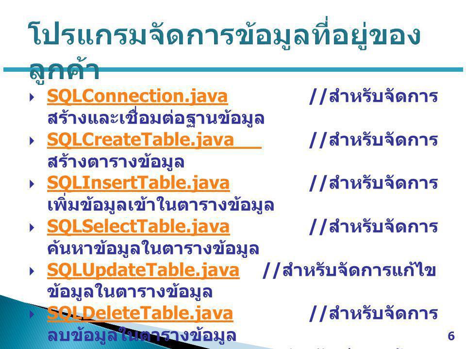  SQLConnection.java// สำหรับจัดการ สร้างและเชื่อมต่อฐานข้อมูล SQLConnection.java  SQLCreateTable.java// สำหรับจัดการ สร้างตารางข้อมูล SQLCreateTable