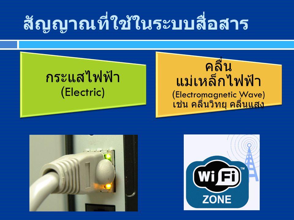 สัญญาณที่ใช้ในระบบสื่อสาร กระแสไฟฟ้า (Electric) คลื่น แม่เหล็กไฟฟ้า (Electromagnetic Wave) เช่น คลื่นวิทยุ คลื่นแสง