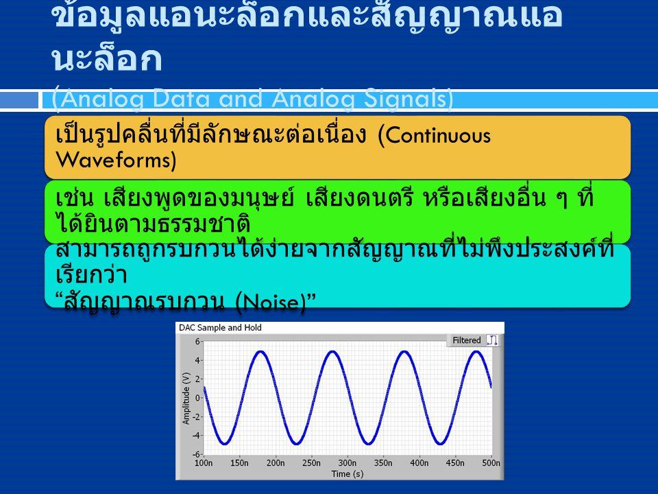 ข้อมูลแอนะล็อกและสัญญาณแอ นะล็อก (Analog Data and Analog Signals) เป็นรูปคลื่นที่มีลักษณะต่อเนื่อง (Continuous Waveforms) เช่น เสียงพูดของมนุษย์ เสียง