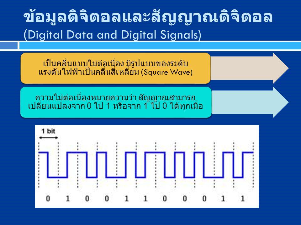 ข้อมูลดิจิตอลและสัญญาณดิจิตอล (Digital Data and Digital Signals) เป็นคลื่นแบบไม่ต่อเนื่อง มีรูปแบบของระดับ แรงดันไฟฟ้าเป็นคลื่นสี่เหลี่ยม (Square Wave