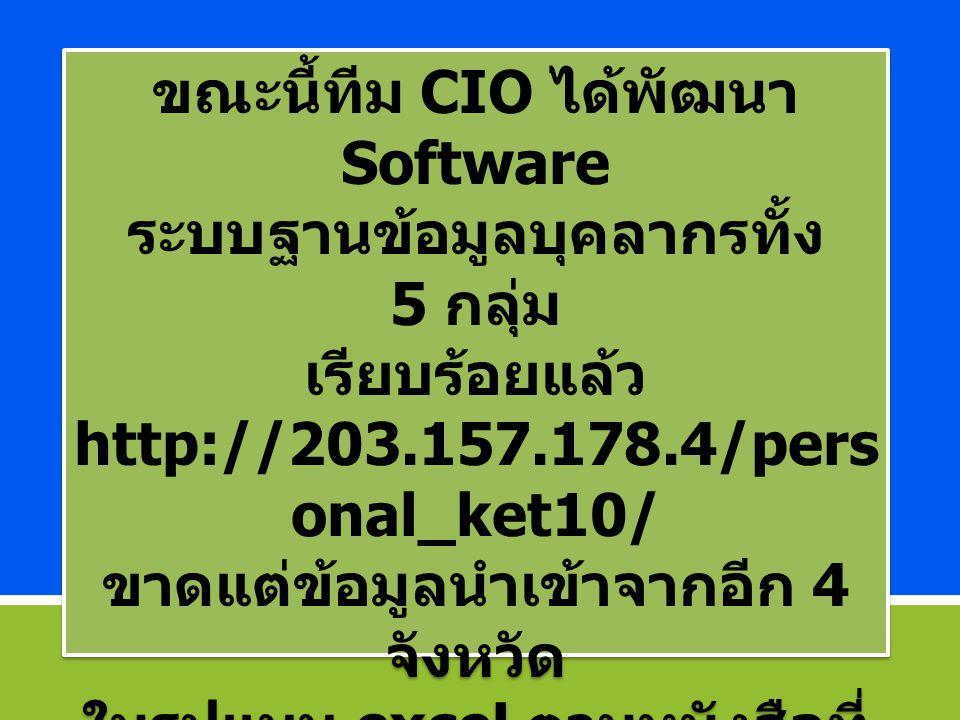 ขณะนี้ทีม CIO ได้พัฒนา Software ระบบฐานข้อมูลบุคลากรทั้ง 5 กลุ่ม เรียบร้อยแล้ว http://203.157.178.4/pers onal_ket10/ ขาดแต่ข้อมูลนำเข้าจากอีก 4 จังหวัด ในรูปแบบ excel ตามหนังสือที่ ขอข้อมูล ที่ สธ.0204.10/ ว.310 7 สค.2557 ขณะนี้ทีม CIO ได้พัฒนา Software ระบบฐานข้อมูลบุคลากรทั้ง 5 กลุ่ม เรียบร้อยแล้ว http://203.157.178.4/pers onal_ket10/ ขาดแต่ข้อมูลนำเข้าจากอีก 4 จังหวัด ในรูปแบบ excel ตามหนังสือที่ ขอข้อมูล ที่ สธ.0204.10/ ว.310 7 สค.2557