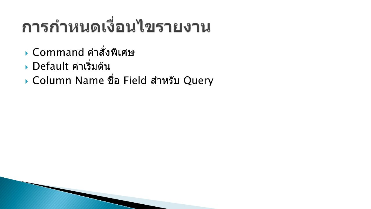  Command คำสั่งพิเศษ  Default ค่าเริ่มต้น  Column Name ชื่อ Field สำหรับ Query