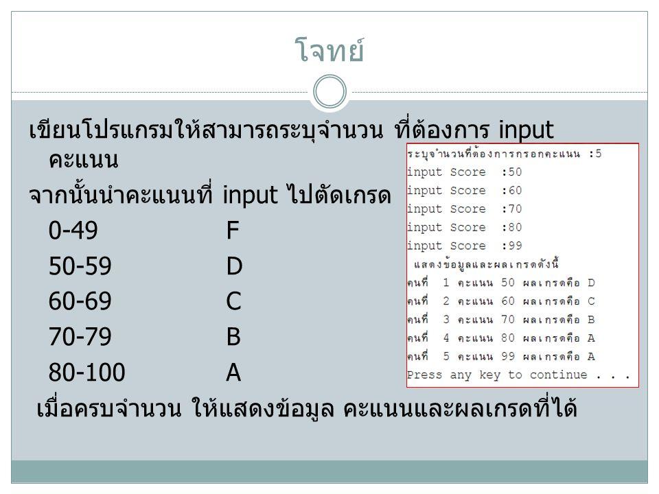 โจทย์ เขียนโปรแกรมให้สามารถระบุจำนวน ที่ต้องการ input คะแนน จากนั้นนำคะแนนที่ input ไปตัดเกรด 0-49F 50-59D 60-69C 70-79B 80-100A เมื่อครบจำนวน ให้แสดงข้อมูล คะแนนและผลเกรดที่ได้