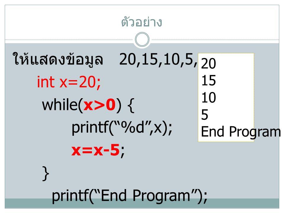 ตัวอย่าง ให้แสดงข้อมูล 20,15,10,5,0 int x=20; while(x>0) { printf( %d ,x); x=x-5; } printf( End Program ); 20 15 10 5 End Program