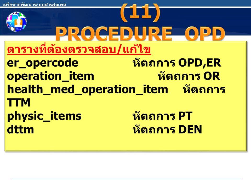 ตารางที่ต้องตรวจสอบ / แก้ไข er_opercode หัตถการ OPD,ER operation_item หัตถการ OR health_med_operation_item หัตถการ TTM physic_items หัตถการ PT dttm หัตถการ DEN ตารางที่ต้องตรวจสอบ / แก้ไข er_opercode หัตถการ OPD,ER operation_item หัตถการ OR health_med_operation_item หัตถการ TTM physic_items หัตถการ PT dttm หัตถการ DEN