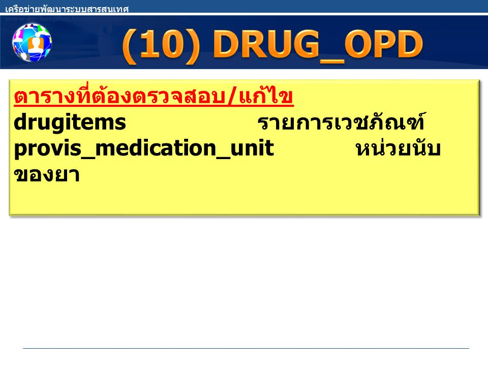 ตารางที่ต้องตรวจสอบ / แก้ไข drugitems รายการเวชภัณฑ์ provis_medication_unit หน่วยนับ ของยา ตารางที่ต้องตรวจสอบ / แก้ไข drugitems รายการเวชภัณฑ์ provis