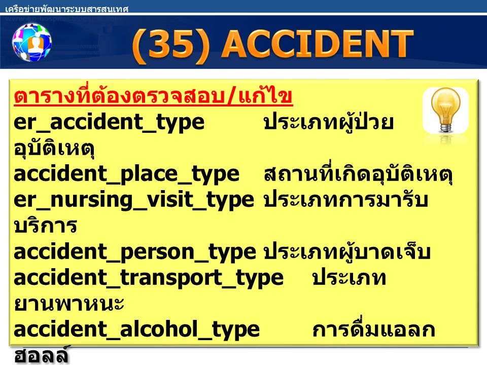 ตารางที่ต้องตรวจสอบ / แก้ไข er_accident_type ประเภทผู้ป่วย อุบัติเหตุ accident_place_type สถานที่เกิดอุบัติเหตุ er_nursing_visit_type ประเภทการมารับ บ