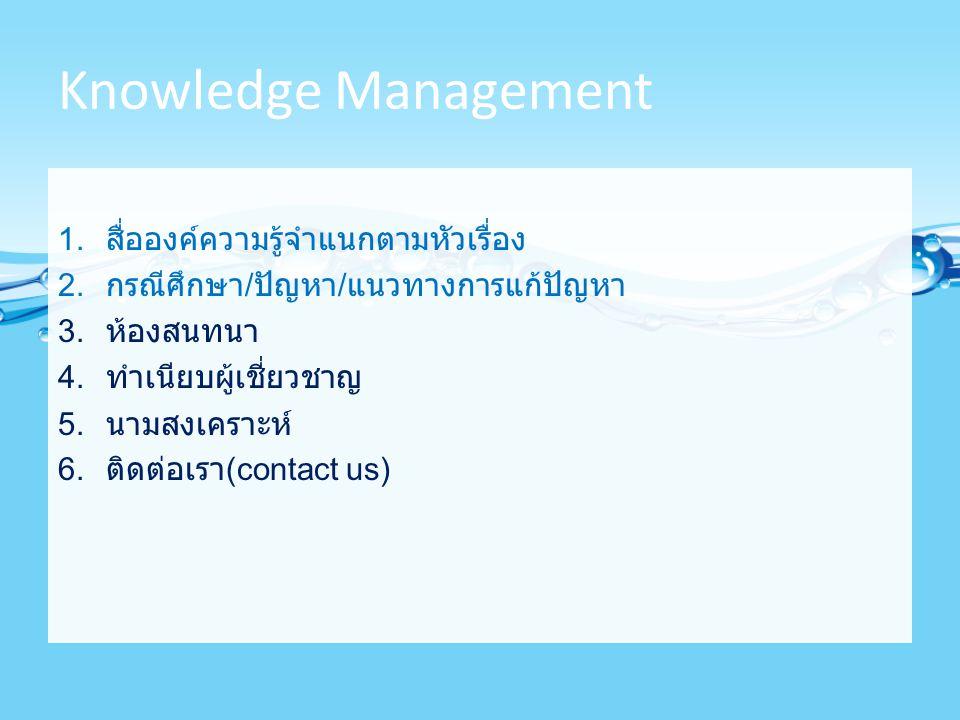 Knowledge Management 1. สื่อองค์ความรู้จำแนกตามหัวเรื่อง 2. กรณีศึกษา / ปัญหา / แนวทางการแก้ปัญหา 3. ห้องสนทนา 4. ทำเนียบผู้เชี่ยวชาญ 5. นามสงเคราะห์