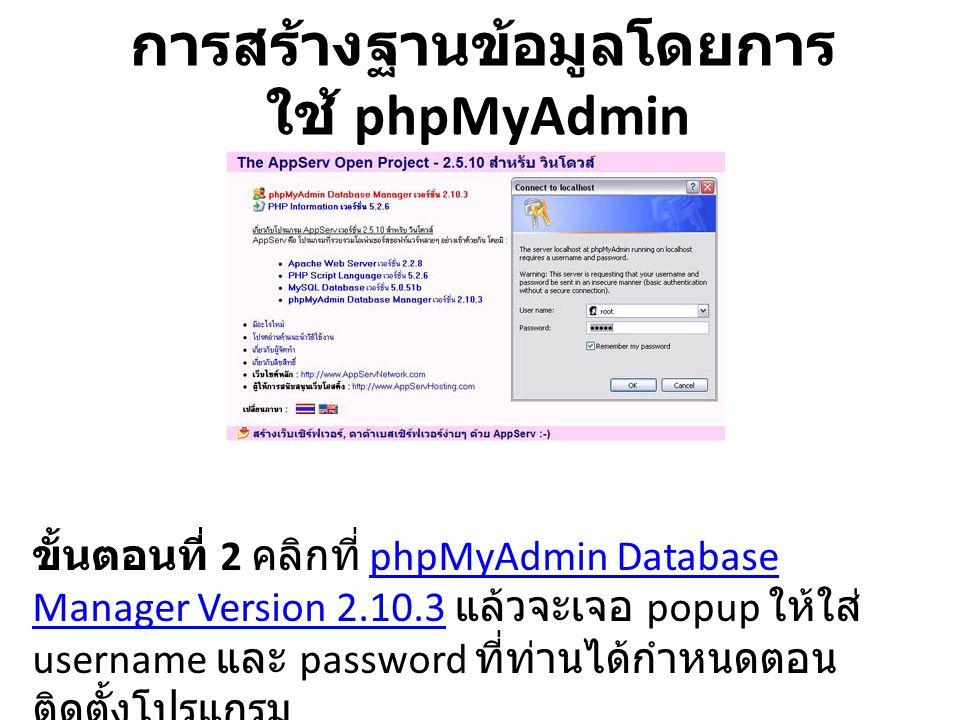 การสร้างฐานข้อมูลโดยการ ใช้ phpMyAdmin ขั้นตอนที่ 2 คลิกที่ phpMyAdmin Database Manager Version 2.10.3 แล้วจะเจอ popup ให้ใส่ username และ password ที