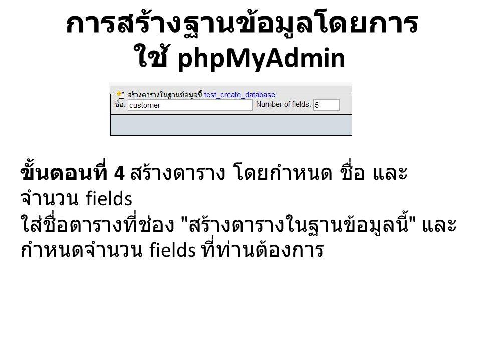 การสร้างฐานข้อมูลโดยการ ใช้ phpMyAdmin ขั้นตอนที่ 4 สร้างตาราง โดยกำหนด ชื่อ และ จำนวน fields ใส่ชื่อตารางที่ช่อง